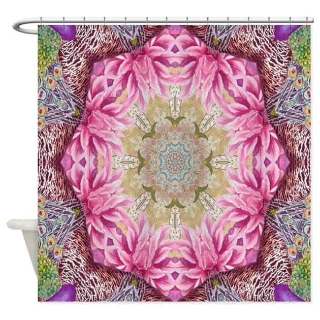 zen pink lotus flower hipster shower curtain by listing store 62325139
