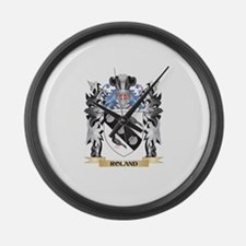 Roland Coat of Arms - Family Cres Large Wall Clock