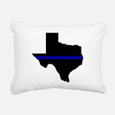 Thin Blue Line (Texas) Rectangular Canvas Pillow