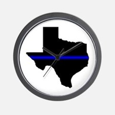 Thin Blue Line (Texas) Wall Clock