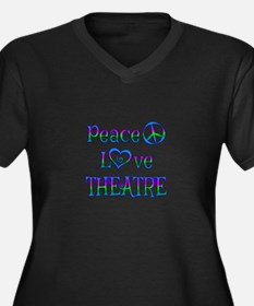 Peace Love T Women's Plus Size V-Neck Dark T-Shirt