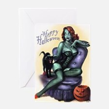 Halloween Zombie Girl Pin Up Greeting Card