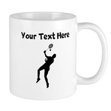 Badminton Player Silhouette Mugs