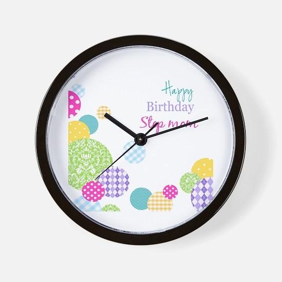 Happy Birthday Step Mom Wall Clock