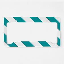Blue, Teal: Stripes Pattern ( License Plate Holder