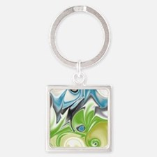 Stunning in Aqua and Green Square Keychain