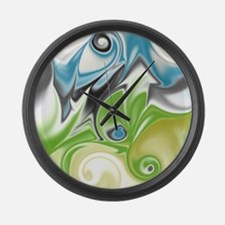 Stunning in Aqua and Green Large Wall Clock