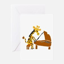 Giraffe Playing Piano Greeting Cards