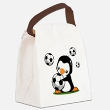 Soccer Penguin Canvas Lunch Bag