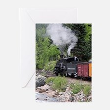 Steam train & river, Colorado Greeting Cards