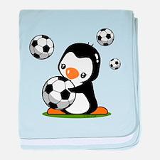 Soccer Penguin baby blanket
