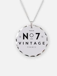 Paris France Vintage Logo bl Necklace