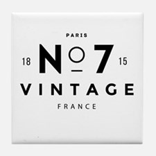 Paris France Vintage Logo black Tile Coaster