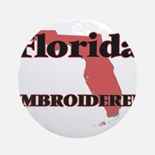 Florida Embroiderer Round Ornament