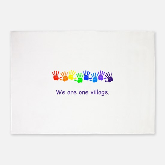 We Are One Village Rainbow Gifts 5'x7'Area Rug