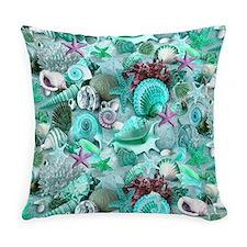 Green Seashells And starfish Everyday Pillow