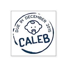 "Baby Boy Due Stamp Caleb Square Sticker 3"" x 3"""