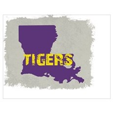 LOUISIANA TIGERS RUSTIC GRAY Poster