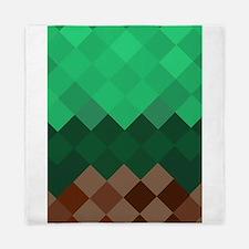 Green Pixel Horizon Queen Duvet