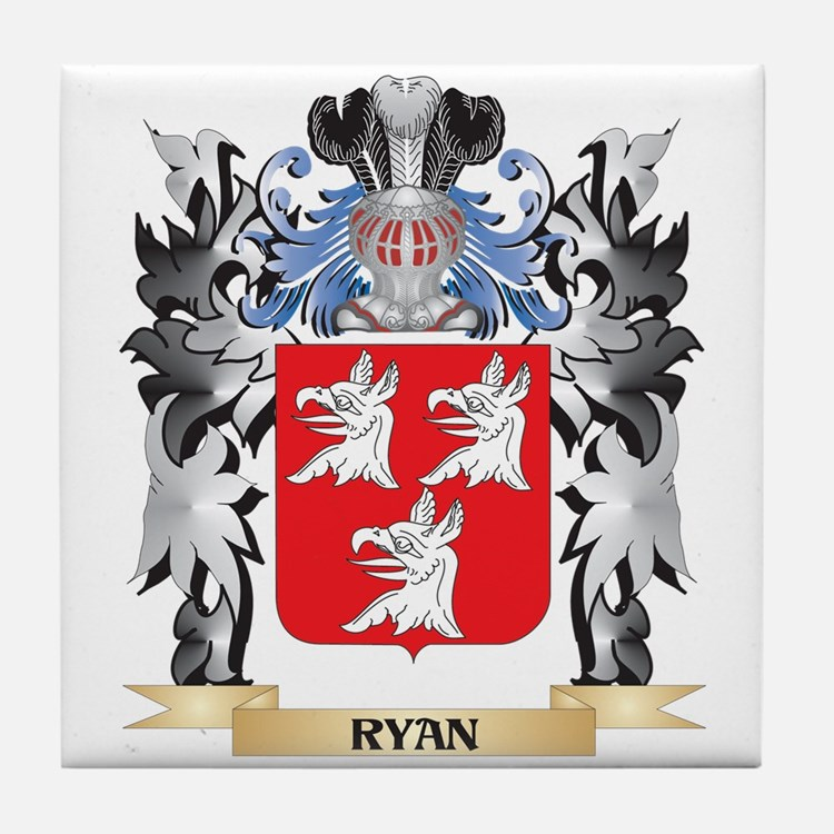 Ryan Coat of Arms - Family Crest Tile Coaster