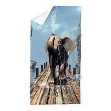 Elephant on a jetty Beach Towel