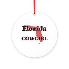 Florida Cowgirl Round Ornament
