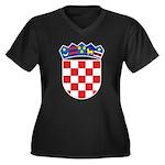 Croatia COA Women's Plus Size V-Neck Dark T-Shirt