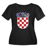 Croatia COA Women's Plus Size Scoop Neck Dark T-Sh