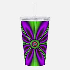 Purple Green Flower b Acrylic Double-wall Tumbler