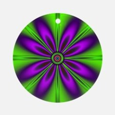 Purple Green Flower by designeffec Round Ornament