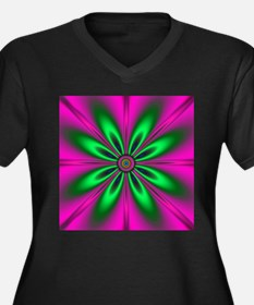 Green Flower on Pink by designef Plus Size T-Shirt