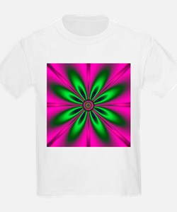 Green Flower on Pink by designeffects T-Shirt