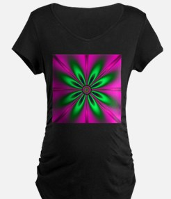 Green Flower on Pink by designef Maternity T-Shirt