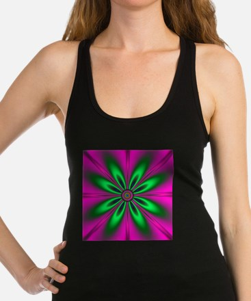 Green Flower on Pink by designe Racerback Tank Top