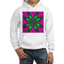 Green Flower on Pink by designef Hoodie Sweatshirt