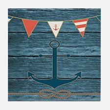 Nautical Wood Vintage Anchor Tile Coaster