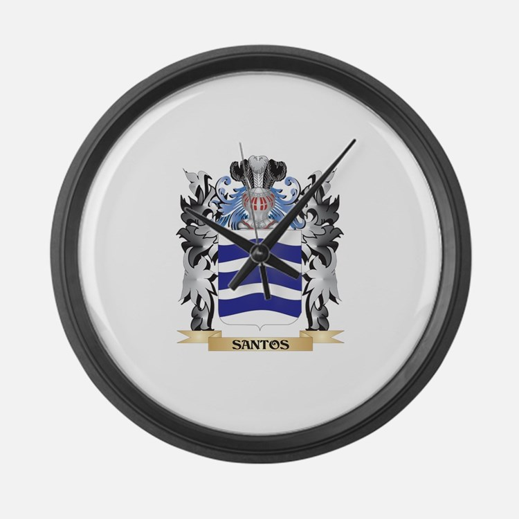Santos Coat of Arms - Family Cres Large Wall Clock