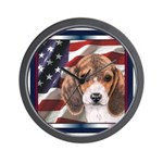 Beagle Dog Patriotic USA Flag Wall Clock