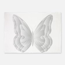 White grey Butterfly for Girls and 5'x7'Area Rug
