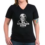 Gingrich 2008 Women's V-Neck Dark T-Shirt