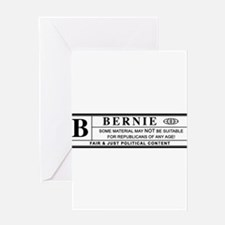BERNIE SANDERS warning label Greeting Cards