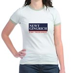 Newt Gingrich for President Jr. Ringer T-Shirt