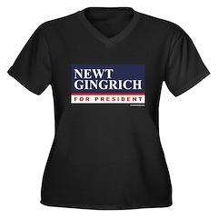 Newt Gingrich for President Women's Plus Size V-Ne