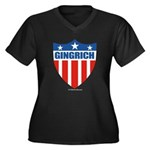 Gingrich Women's Plus Size V-Neck Dark T-Shirt