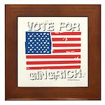 Vote for Gingrich Framed Tile
