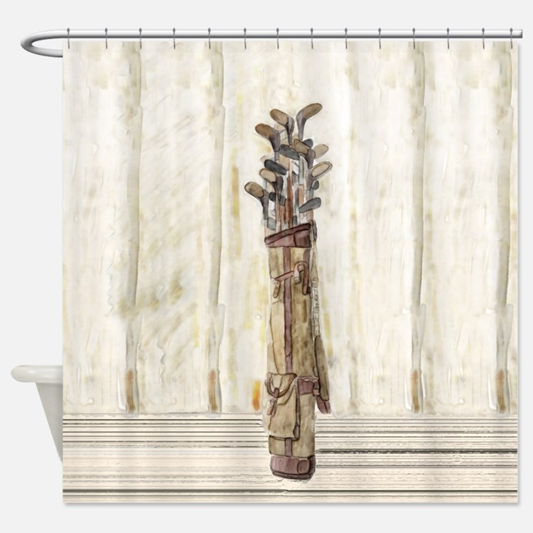 Antique Watercolor Golf Clubs Shower Curtain