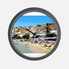 Greek Beach Day Wall Clock