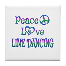 Peace Love Line Dancing Tile Coaster