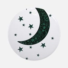 green moon stars flowers Round Ornament