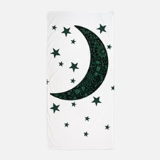 green moon stars flowers Beach Towel